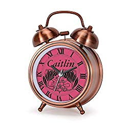 GIRLSIGHT Alarm Clock for Bedroom, Silent Non Ticking Double Twin Bell Child Alarm Clock Loud Home Alarm Clock with Personalized Kids Vintage Style Dial