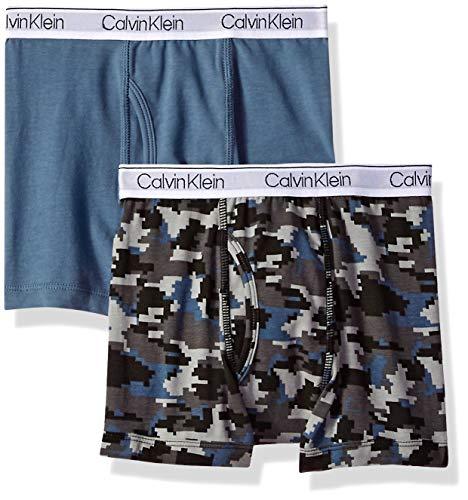 Calvin Klein Big Boy's Kids Modern Cotton Assorted Boxer Briefs Underwear, Multipack, 2 Pack Camo, China Blue, Medium / 8-10 ()
