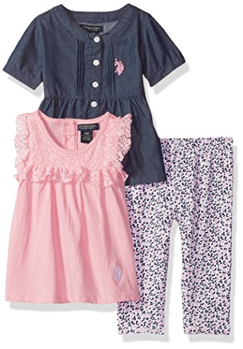 U.S. Polo Assn. Baby Girls' Fashion Top and Legging 3 Piece Set, Prism Pink, 6/9 Months