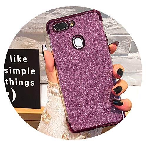 Glitter Bling Phone Cases for Huawei Mate 20 Lite X P Smart 2019 Plating Soft TPU Case on Honor 8X 7A 7C 10 9 P30 P20 Pro Lite,Purple,P20 Pro