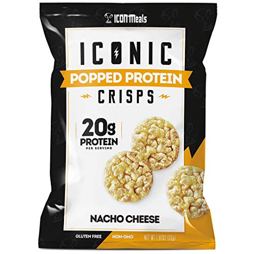 ICON Meals Popped Protein Chip Crisps, High Protein, Gluten Free, Pea Protein, Chickpea Protein Snack (6 Bags, Nacho Cheese)