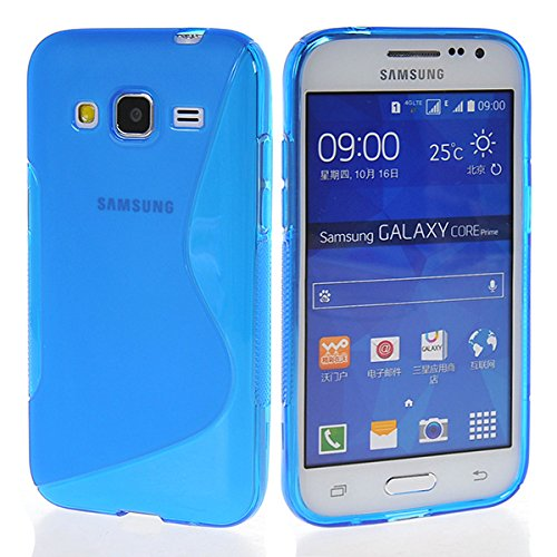 Galaxy Core Prime Case,COOLKE [Blue] Stylish Lines Design Silicone Case Soft Protecting Cover for Samsung Galaxy Core Prime SM-G3606