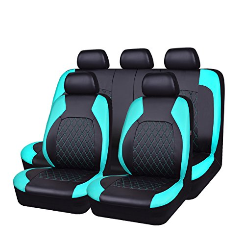 HORSE KINGDOM Universal Car Seat Covers Faux Leather Full Seat 11 pcs Airbag Compatible Breathable (Black with Mint) ()