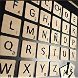 Letras grandes de Scrabble en madera natural, para decoración de pared: Amazon.es: Hogar