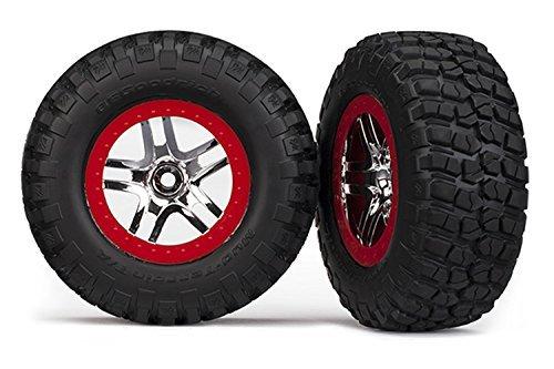 Traxxas 6873A B.F. Goodrich KM2 Tires on Red Short Course Wheels, Slash 4X4 ()