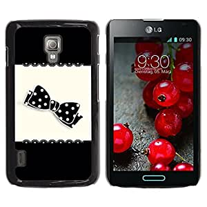 For LG Optimus L7 II P710 / L7X P714 Case , Bow Black White Polka Dot Pattern - Diseño Patrón Teléfono Caso Cubierta Case Bumper Duro Protección Case Cover Funda