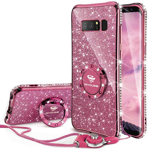 Galaxy Note 8 Case, Glitter Cute Phone Case Girls with Kickstand, Bling Diamond Rhinestone Bumper with Ring Stand Sparkly Soft Protective Samsung Galaxy Note 8 Case for Girl Women - Deep Purple