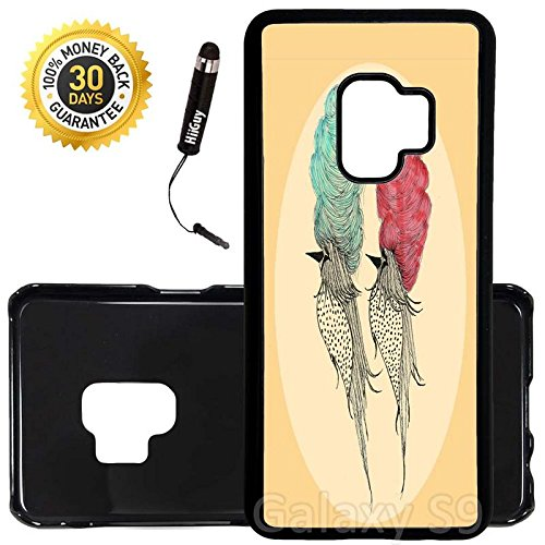 (Custom Galaxy S9 Case (Bouffant Pretty Birds) Edge-to-Edge Plastic Black Cover Ultra Slim | Lightweight | Includes Stylus Pen by Innosub)