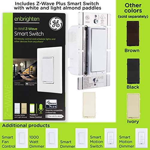 GE Enbrighten Z-Wave Plus Smart Dimmer Switch, Full Dimming, In-Wall, Incl   White and Lt  Almond Paddles, Repeater/Range Extender, Zwave Hub Required,