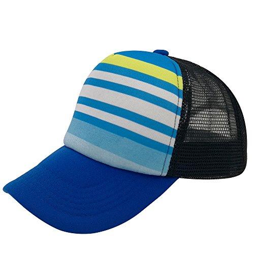 Unisex Sublimated Print Baseball Trucker Caps Mesh Hat Adjustable Snapback Hat (black/blue stripe/Brim) ()