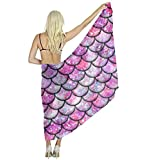 Women Soft Silk Wraps Shawls Stole Scarf, Pink Galaxy Mermaid Bikini Stole Scarf
