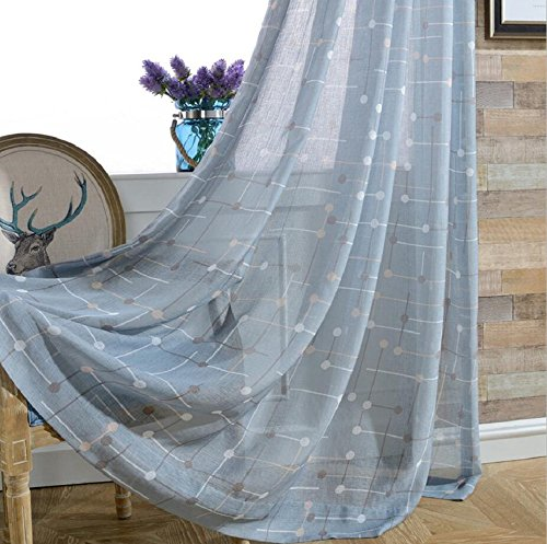 TIYANA Blue Sheer Curtain for Bedroom 84 inch Length Extra Wide Blue Backdrop Sheer Gauze Tulle Voile Drape Custom Window Dressing Sheer 1 Panel 114 inches Wide by 84 inches ()