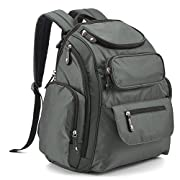 Baby Diaper Backpack, Evecase Lightweight Waterproof Baby Diaper Backpack Travel Nursing Nappy Bag with Stroller Straps, Accessory Pouch and Changing Pad for Both Mom & Dad - Gray