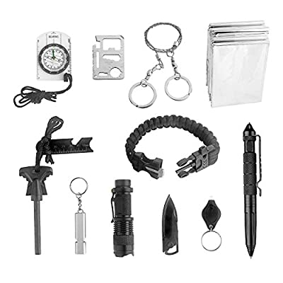 Survival Tool Ledes 11-in-1 Outdoor Emergency Gear Kit Tool with Compass Fire Starter Whistle Knife Flashlight Tactical Pen and More Tools for Camping Hiking Travelling or Adventures from Ledes