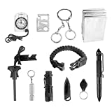 Survival Tool Ledes 11-in-1 Outdoor Emergency Gear Kit Tool with Compass Fire Starter Whistle Knife Flashlight Tactical Pen and More Tools for Camping Hiking Travelling or Adventures