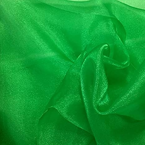 "SPARKLE ORGANZA POLY FABRIC NEON GREEN  58/"" BY THE YARD"