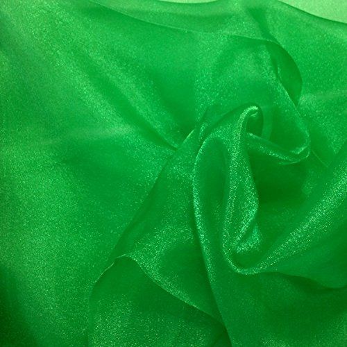 Sparkle Crystal Sheer Organza Fabric Shiny for Fashion, Crafts, Decorations 60 (Kelly Green, 1 -