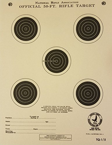 Official NRA Target, TQ-1/5, 50 Ft. Rifle, Pack of 100 from National Target Company
