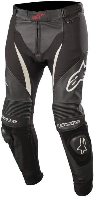 Alpinestars SPX - Pantalones de cuero para motorista, color negro y blanco, talla 56