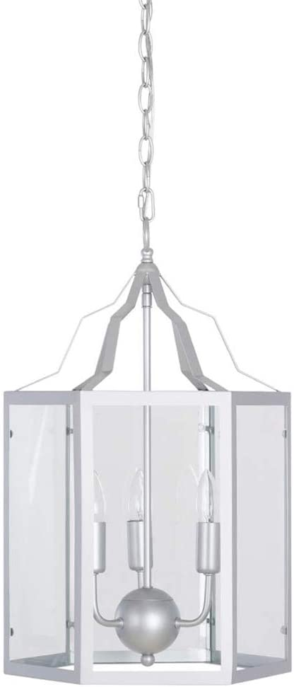 Ravenna Home Cage Frame Glass Panel Pendant Chandelier with 3 LED Light Bulbs - 14 x 14 x 17.75 Inches, Silver
