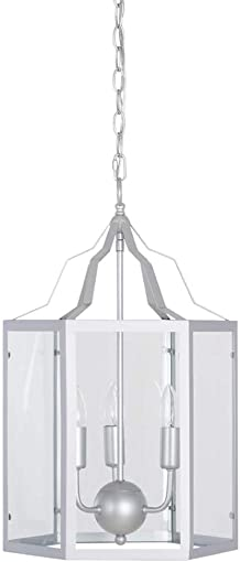 Ravenna Home Cage Frame Glass Panel Pendant Chandelier with 3 LED Light Bulbs – 14 x 14 x 17.75 Inches, Silver