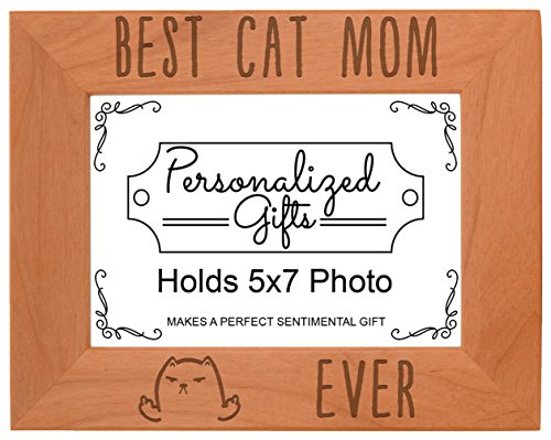 Cat Lover Gifts Best Cat Mom Ever Cat Flipping Off Rude Funny Cats Mother's Day Gift Natural Wood Engraved 5x7 Landscape Picture Frame Wood