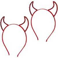 TOYANDONA 2PCS Devil Horns Headband Halloween Horn Headband Hair Hoop Halloween Cosplay Costume for Women Girls