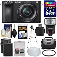 Sony Alpha A6500 4K Wi-Fi Digital Camera & 16-50mm Lens with 64GB Card + Battery & Charger + Case + Filter + Tripod + Flash + Kit