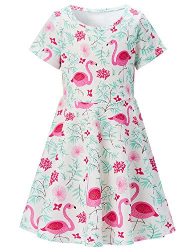 Girls Short Sleeve Dress 3D Print Cute Tropical Weed Flamingo Pattern White Summer Dress Casual Swing Theme Birthday Party Sundress Toddler Kids Twirly Skirt -