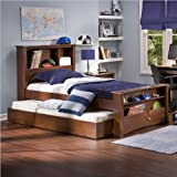 South Shore Mika Classic Cherry Kids Wood Bookcase Bed 3 Piece Bedroom Set