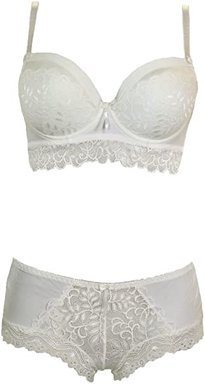 Womens Scallop Padded Lace Longline Bra and Hipster Set Ivory NEW B,C Cup