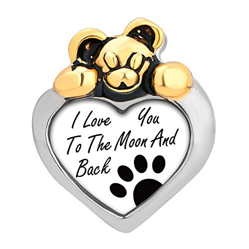 (LovelyCharms I Love You To The Moon And Back Photo Charm Bear Heart Beads For Bracelets (Paw Prints))