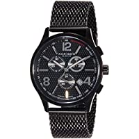 Akribos XXIV - Reloj de acero inoxidable AK719BK negro para hombres con banda de malla