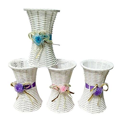 - Povkeever Flower Basket Plastic Thin Waisted Flower Basket Vase for Party Wedding Living Room Table Home Garden Decoration