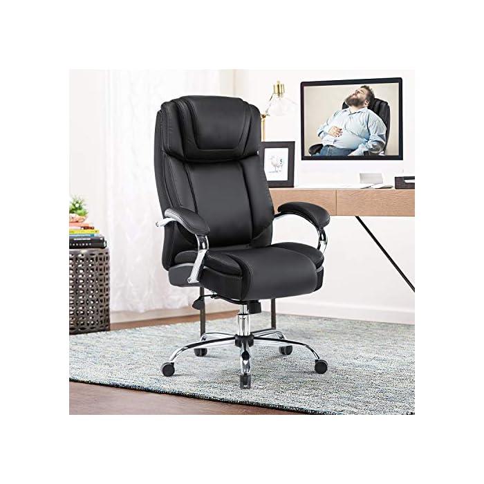 51rcQ2Gyq4L Haz clic aquí para comprobar si este producto es compatible con tu modelo Silla de oficina de piel regenerada: la silla ejecutiva grande y alta de Yamasoro fue diseñada para tu comodidad. La silla tiene acolchado suave y grueso y borde del asiento en cascada para menos presión en la parte posterior de tus piernas para que puedas mantenerte cómodo incluso cuando tengas que sentarte durante horas Comodidad para tu productividad: diseño ergonómico de silla de oficina con cojines de doble capa para sillas. Asiento de resorte de bolsillo de alta elasticidad. Cojín de silla de escritorio 30 ~ 50% más grueso que el asiento normal. Una silla de oficina y respaldo con reposacabezas contorneado grueso. Comodidad continua para largas horas de juego o trabajo. Mayor densidad, mejor elasticidad, mayor resistencia. Combinación perfecta para tu mesa de juego y escritorios de ordenador