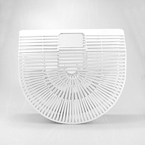 White Totes Handbag Evedaily Semicircle Summer Bamboo Beach Womens Handmade Wx8OZrnW7