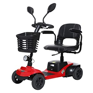 Light and Compact, Foldable,4 Wheel Power Electric Travel and Mobility Scooter,42Cm Wide Seat,Black Red EMOGA