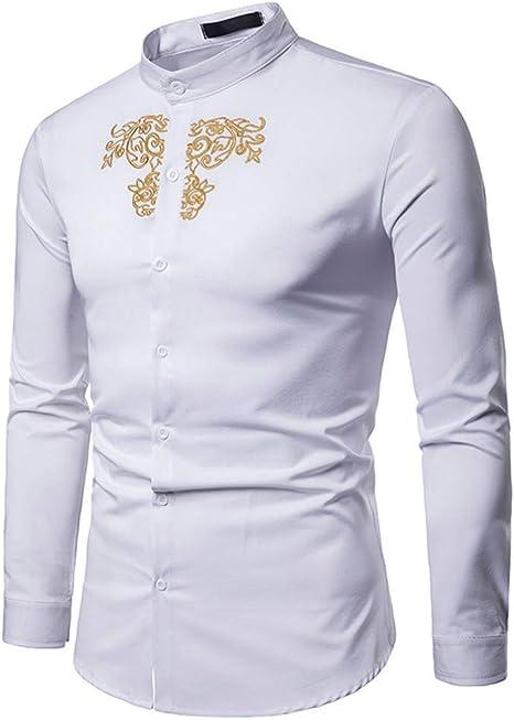 Sunnyuk Hombre Camisa Estilo Africano Nacional Dorado Imprimir de Manga Larga Ocio Camisa: Amazon.es: Deportes y aire libre