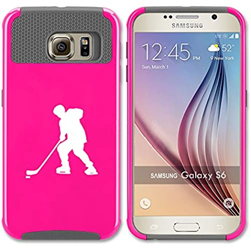 Samsung Galaxy S7 Edge Shockproof Impact Hard Case Cover Hockey Player (Hot Pink-Grey ) Sales