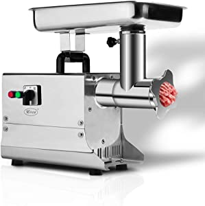 Zica Electric Meat Grinder #12 3/4 HP 265 LBS Per/Hr 550 Watts Commercial Grade Stainless Steel Cutlery Feeding Tray, Neck and Body