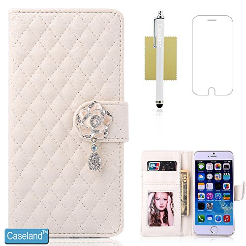 iPhone 6 Case,iPhone 6s Case,CASELAND Wallet PU Leather Case with Stand Function Folio Rhombus Bling Camellia Button Case for iPhone 6/6s [4.7 Inch] White