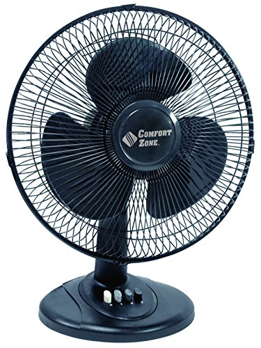 Comfort Zone Oscillating Table Fan | Portable, 3 Speed, Black Fan ()
