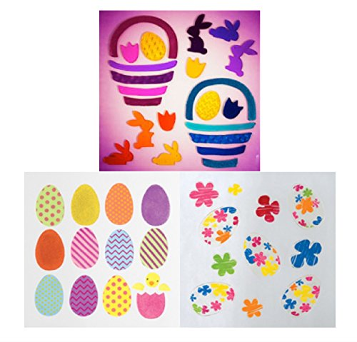 GelGems Window Clings for Easter: Ombre, Patterned and Crayon FlowerEggs Eggs, 3-Piece Gift Set