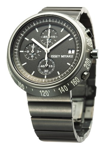 Issey Miyake Trapezoid Chronograph Black Ion-plated Steel-Aluminum Mens Watch SILAZ003