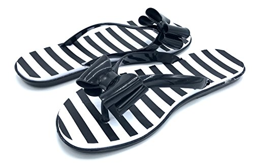 Chatties Ladies Bow Tie Patent and Print Thong Flip Flops Black/Stripe UpROoOhbI