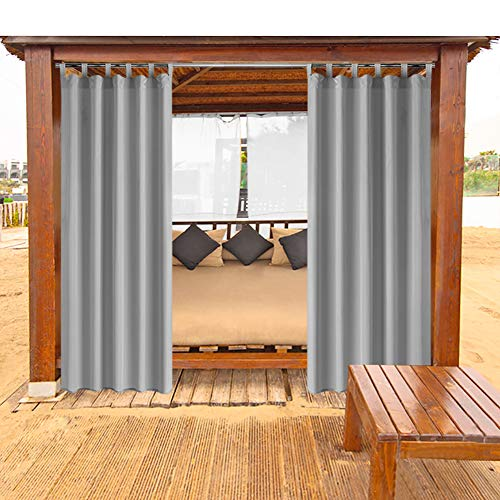 """HGMart Outdoor Curtain Panel for Porch Patio,Privacy Drape Migic Tape Top Window Curtain with UV Ray Protected and Waterproof ,Easy to Hang On 50""""x96"""" Grey"""