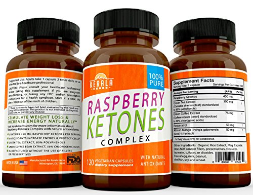 Kerala Herbs Raspberry Ketones Complex for Natural Weight Loss and Boost Energy Easy Swallow Pill, Advanced Antioxidants, Green Tea Extract, Green Coffee Extract for Appetite Suppression 120 capsules