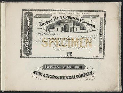 Photo: Stock certificate, Loudon Park Cemetery Co, letterhead, Semi Anthracite Coal, 1850 . Size: 8x