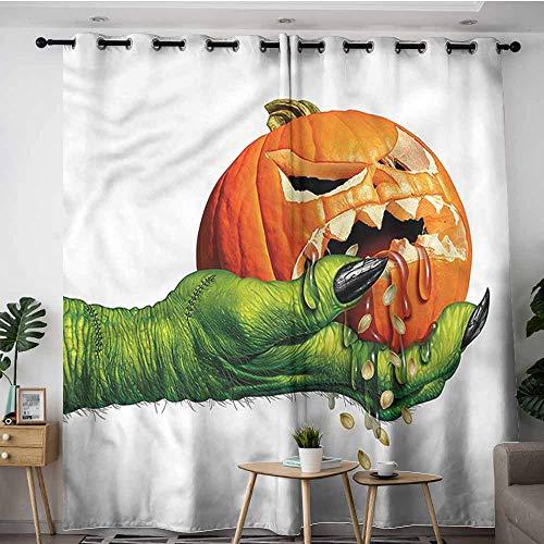XXANS Grommet Curtains,Pumpkin,Scary Halloween Monster,Energy Efficient, Room Darkening,W120x72L]()