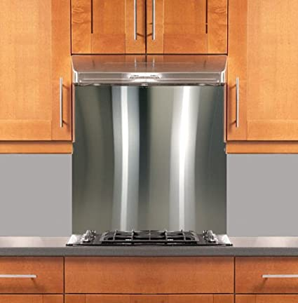 Kitchens With Stainless Steel Backsplash | Amazon Com Stainless Steel Backsplash 24 X 30 304 4 Hemmed Edge